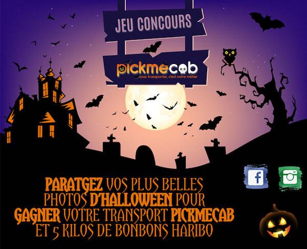 Pickmecab demande à ses fans de partager leur meilleure photo d'Halloween sur les réseaux sociaux.