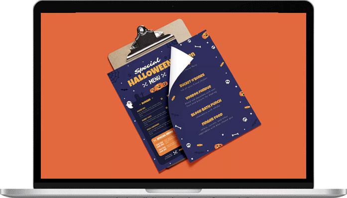 Testez les supports de communication aux couleurs d'Halloween pour mettre votre client dans l'ambiance.